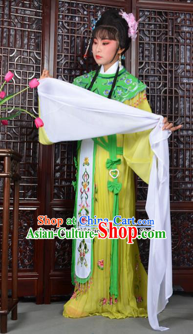 Traditional Chinese Peking Opera Peri Costumes Ancient Princess Yellow Dress for Adults