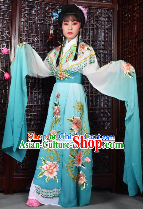 Traditional Chinese Peking Opera Palace Lady Costumes Ancient Imperial Consort Blue Dress for Adults