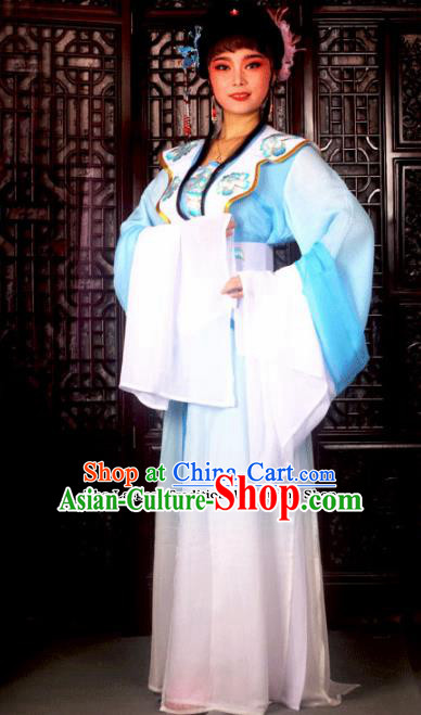 Traditional Chinese Peking Opera Princess Embroidered Costumes Ancient Peri Blue Dress for Adults
