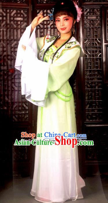 Traditional Chinese Peking Opera Princess Embroidered Costumes Ancient Peri Green Dress for Adults