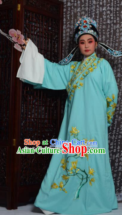 Professional Chinese Peking Opera Niche Costumes Embroidered Magnolia Blue Robe for Adults