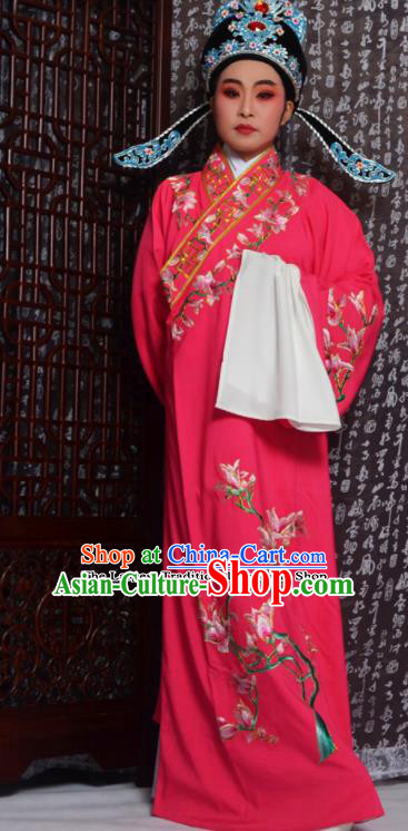 Professional Chinese Peking Opera Niche Costumes Embroidered Magnolia Rosy Robe for Adults