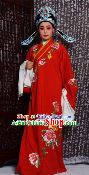 Professional Chinese Peking Opera Niche Costumes Embroidered Peony Red Robe for Adults