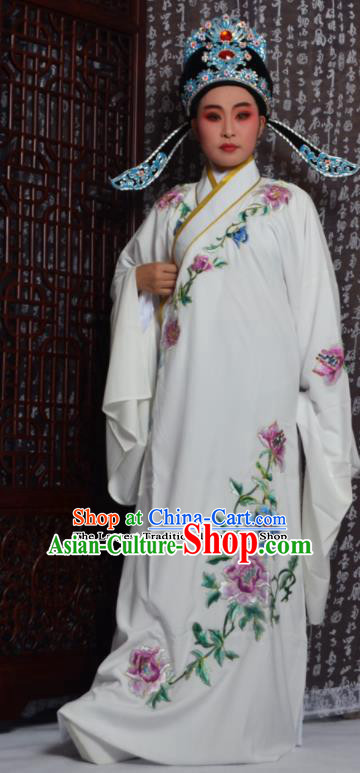 Professional Chinese Peking Opera Niche Costumes Embroidered Peony White Robe for Adults