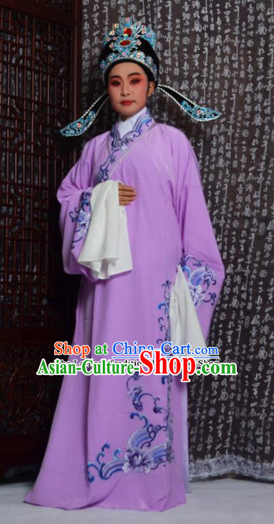 Professional Chinese Peking Opera Niche Costumes Embroidered Purple Robe for Adults