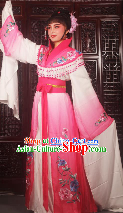 Traditional Chinese Peking Opera Palace Lady Costumes Ancient Imperial Concubine Embroidered Rosy Dress for Adults