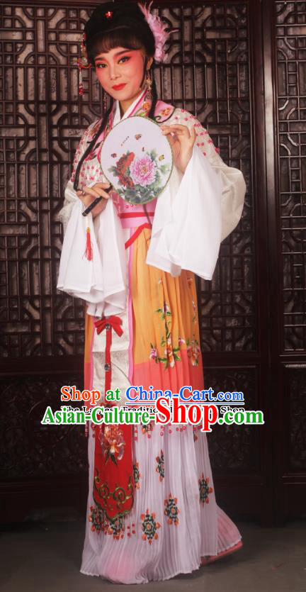 Chinese Ancient Nobility Lady Embroidered Yellow Dress Traditional Peking Opera Actress Costumes for Adults