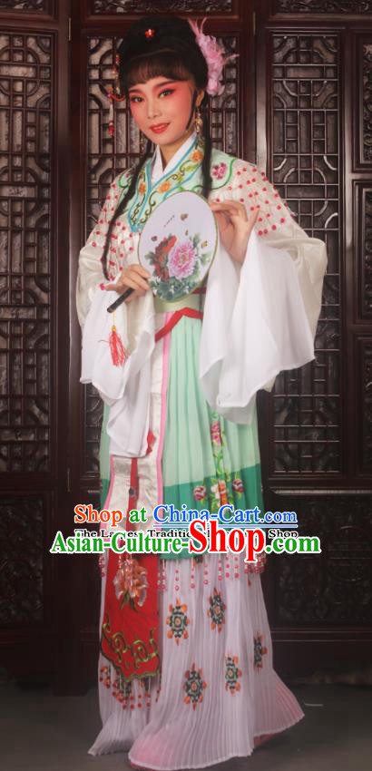 Chinese Ancient Nobility Lady Embroidered Green Dress Traditional Peking Opera Actress Costumes for Adults