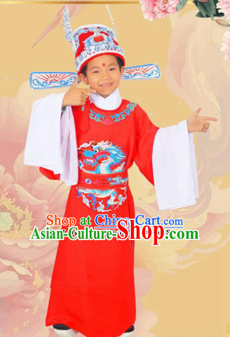 Professional Chinese Peking Opera Niche Costumes Ancient Childe Embroidered Red Clothing for Kids