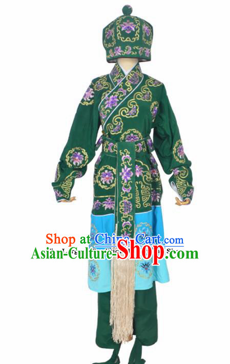 Professional Chinese Peking Opera Takefu Costumes Ancient Swordsman Embroidered Green Clothing and Hat for Adults