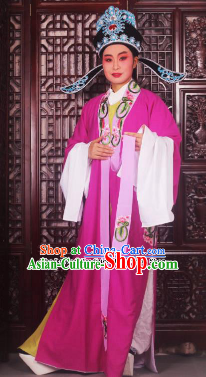 Professional Chinese Peking Opera Niche Costumes Ancient Scholar Rosy Clothing and Hat for Adults