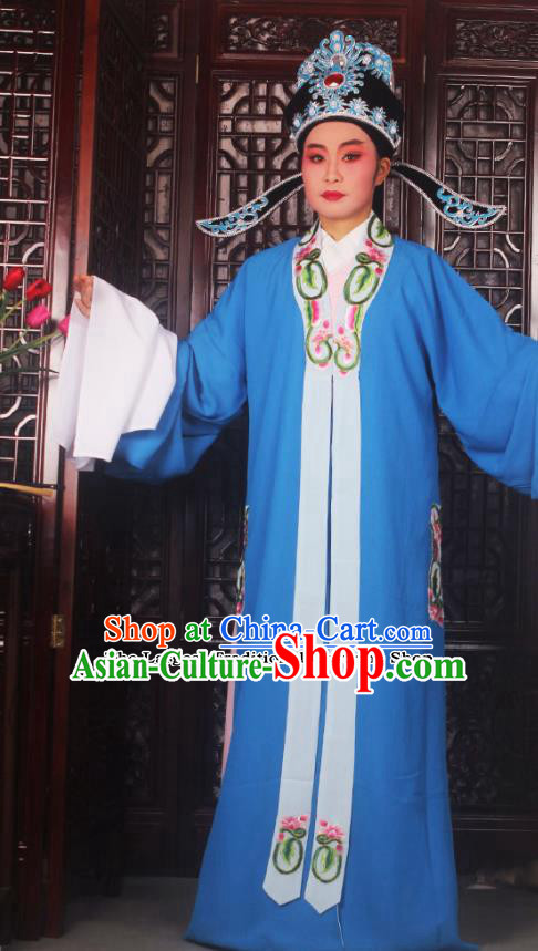 Professional Chinese Peking Opera Niche Costumes Ancient Scholar Royalblue Clothing and Hat for Adults