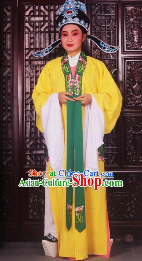 Professional Chinese Peking Opera Niche Costumes Ancient Scholar Yellow Clothing and Hat for Adults