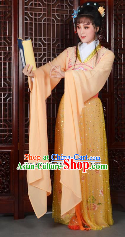 Chinese Ancient Peri Princess Embroidered Orange Dress Traditional Peking Opera Actress Costumes for Adults