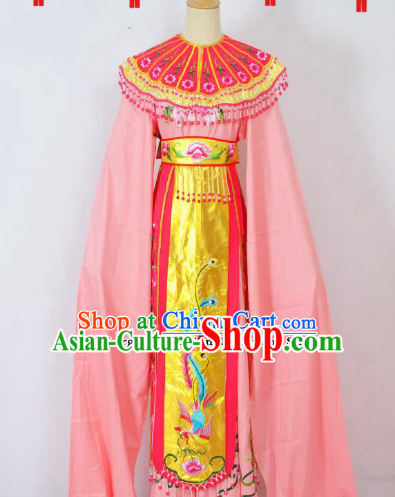 Chinese Ancient Palace Princess Embroidered Pink Dress Traditional Peking Opera Actress Costumes for Adults