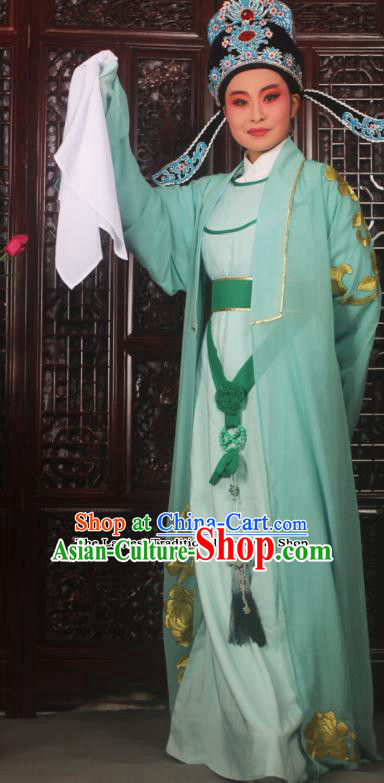 Professional Chinese Peking Opera Niche Costumes Embroidered Green Clothing for Adults