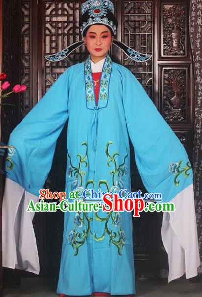 Top Grade Chinese Beijing Opera Scholar Costumes Peking Opera Niche Embroidered Blue Clothing for Adults