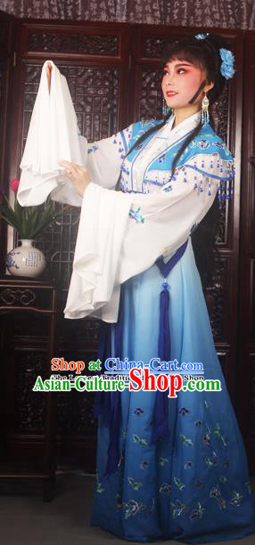 Traditional Chinese Peking Opera Peri Princess Costumes Ancient Palace Lady Embroidered Blue Dress for Adults