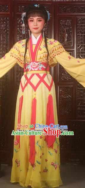 Traditional Chinese Peking Opera Peri Costumes Ancient Palace Princess Embroidered Yellow Dress for Adults