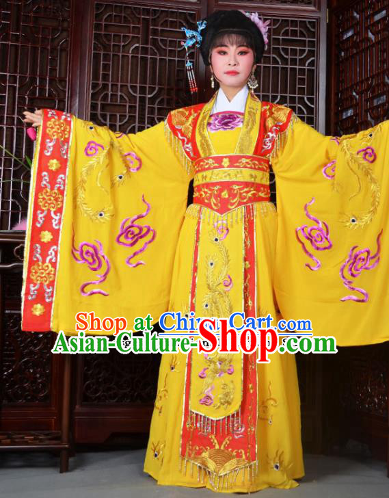 Traditional Chinese Peking Opera Empress Embroidered Costumes Ancient Queen Yellow Dress for Adults