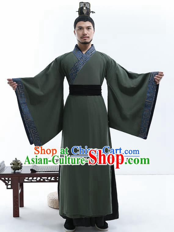 Chinese Traditional Han Dynasty Scholar Costumes Ancient Drama Swordsman Robe for Men