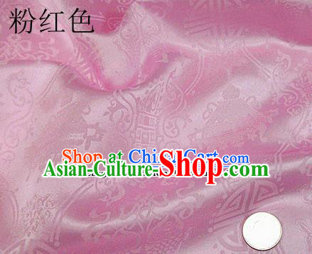 Traditional Chinese Royal Palace Pattern Design Pink Brocade Fabric Silk Fabric Chinese Fabric Asian Material