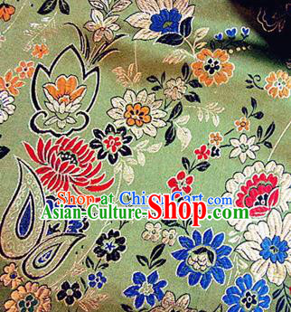 Traditional Chinese Royal Peony Pattern Green Brocade Tang Suit Fabric Silk Fabric Asian Material