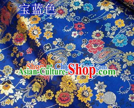 Traditional Chinese Royal Peony Pattern Royalblue Brocade Tang Suit Fabric Silk Fabric Asian Material