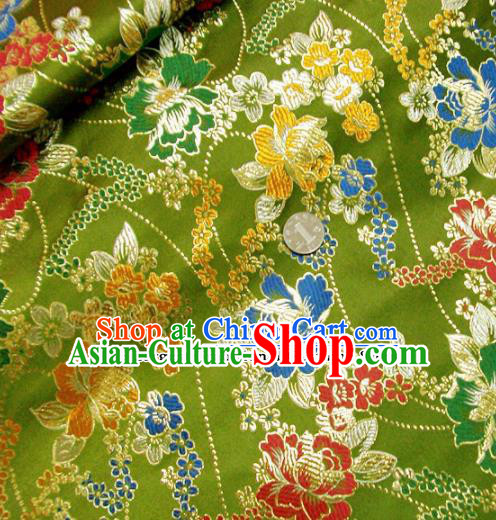 Traditional Chinese Green Brocade Tang Suit Royal Peony Pattern Fabric Silk Fabric Asian Material