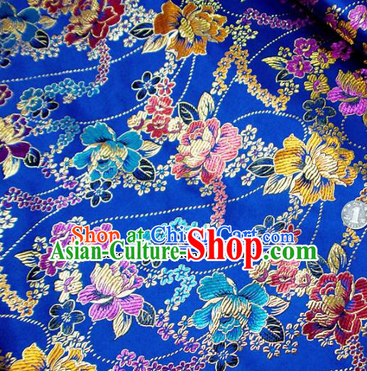 Traditional Chinese Royalblue Brocade Tang Suit Royal Peony Pattern Fabric Silk Fabric Asian Material