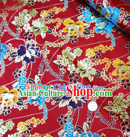 Traditional Chinese Red Brocade Tang Suit Royal Peony Pattern Fabric Silk Fabric Asian Material