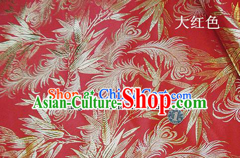 Traditional Chinese Royal Feather Bamboo Pattern Red Brocade Tang Suit Fabric Silk Fabric Asian Material