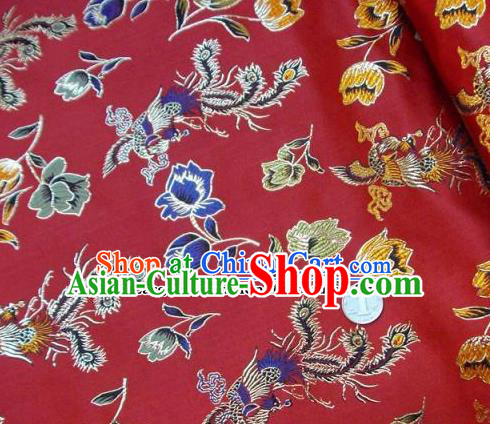 Traditional Chinese Royal Phoenix Peony Pattern Red Brocade Tang Suit Fabric Silk Fabric Asian Material