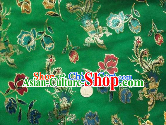 Traditional Chinese Royal Phoenix Peony Pattern Green Brocade Tang Suit Fabric Silk Fabric Asian Material