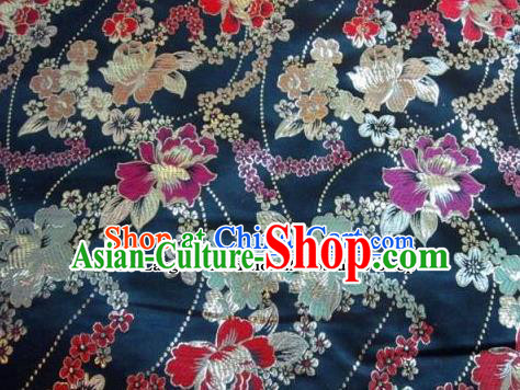 Traditional Chinese Royal Peony Pattern Navy Brocade Tang Suit Fabric Silk Fabric Asian Material