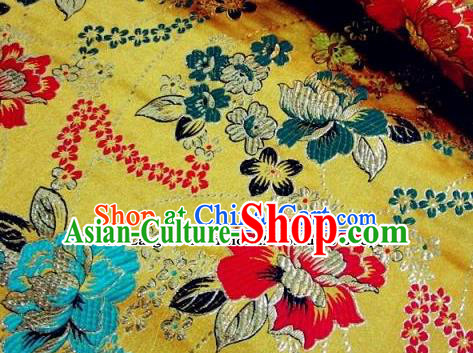 Traditional Chinese Royal Peony Pattern Yellow Brocade Tang Suit Fabric Silk Fabric Asian Material