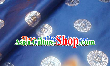 Traditional Chinese Royal Coins Pattern Blue Brocade Tang Suit Fabric Silk Fabric Asian Material