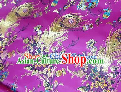 Traditional Chinese Royal Phoenix Flower Pattern Purple Brocade Tang Suit Fabric Silk Fabric Asian Material