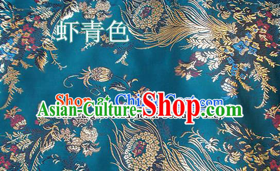 Traditional Chinese Royal Phoenix Flower Pattern Peacock Green Brocade Tang Suit Fabric Silk Fabric Asian Material