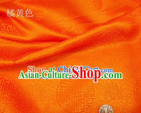 Traditional Chinese Royal Pattern Design Orange Brocade Fabric Silk Fabric Chinese Fabric Asian Material