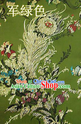 Traditional Chinese Royal Phoenix Flower Pattern Olive Green Brocade Tang Suit Fabric Silk Fabric Asian Material