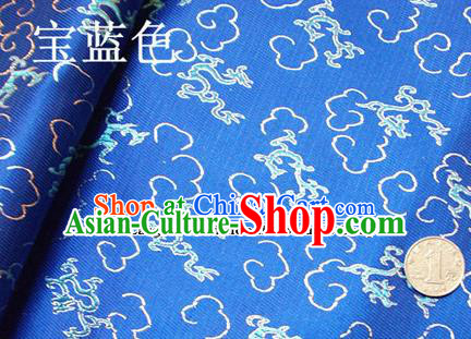 Traditional Chinese Royal Dragons Pattern Royalblue Brocade Tang Suit Fabric Silk Fabric Asian Material