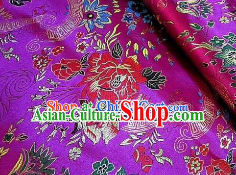 Traditional Chinese Royal Peony Flowers Pattern Purple Brocade Tang Suit Fabric Silk Fabric Asian Material