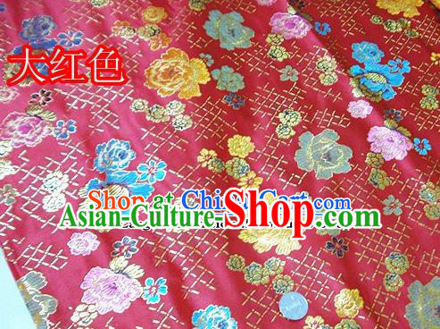 Traditional Chinese Royal Roses Pattern Red Brocade Tang Suit Fabric Silk Fabric Asian Material
