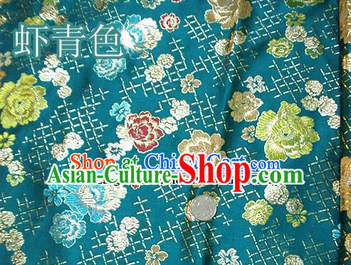 Traditional Chinese Royal Roses Pattern Green Brocade Tang Suit Fabric Silk Fabric Asian Material