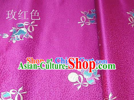 Traditional Chinese Royal Tulipa Pattern Rosy Brocade Tang Suit Fabric Silk Fabric Asian Material