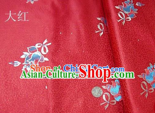 Traditional Chinese Royal Tulipa Pattern Red Brocade Tang Suit Fabric Silk Fabric Asian Material