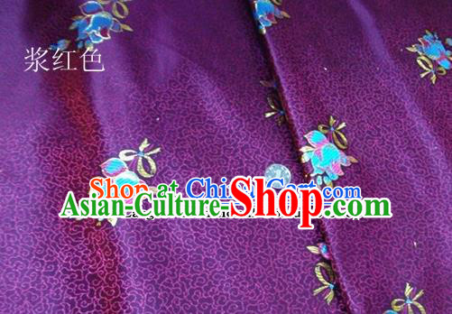 Traditional Chinese Royal Tulipa Pattern Purple Brocade Tang Suit Fabric Silk Fabric Asian Material