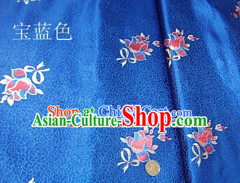 Traditional Chinese Royal Tulipa Pattern Royalblue Brocade Tang Suit Fabric Silk Fabric Asian Material