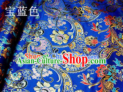 Traditional Chinese Royal Pattern Royalblue Brocade Tang Suit Fabric Silk Fabric Asian Material